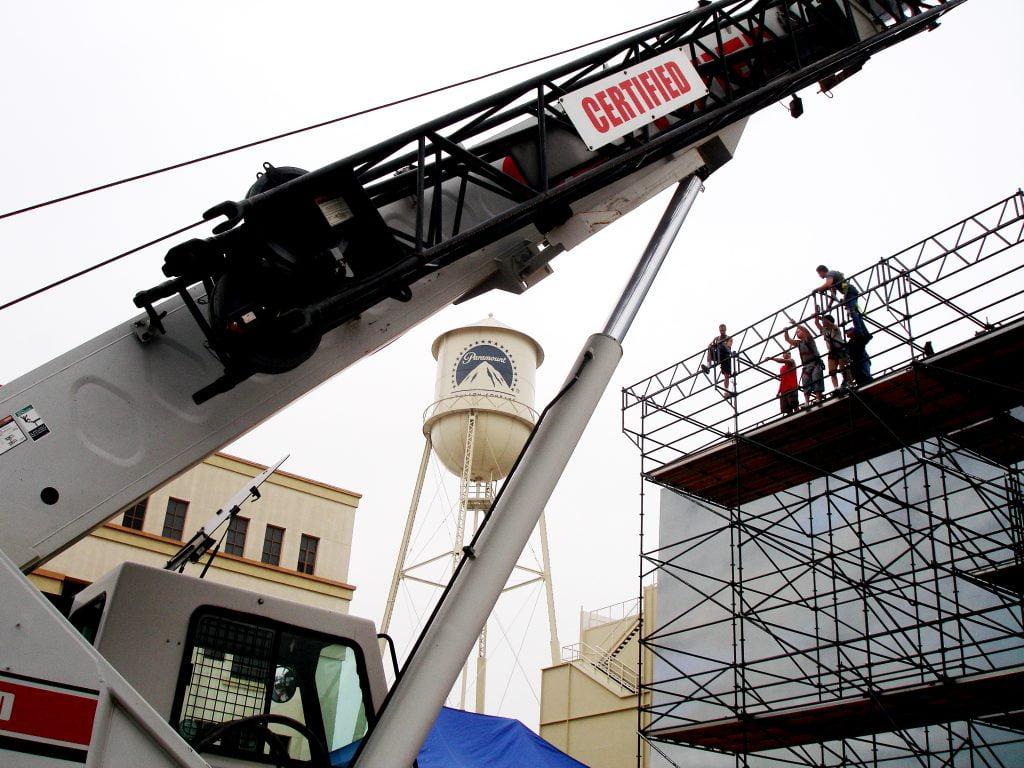 film crane working on the Paramount lot