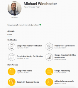 Michael Winchester Google Certifications