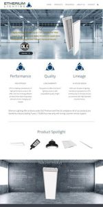 website design for Etherium Lighting