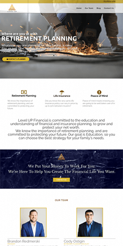website design for Level Up Financial