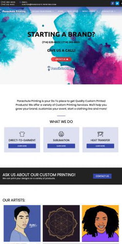 website updates and refresh for Parachute Printing
