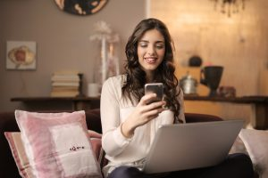 woman enjoying a mobile website