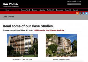 Jim Parker case studies page design