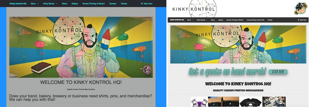 Kinky Kontrol website before and after redesign by Michael Winchester