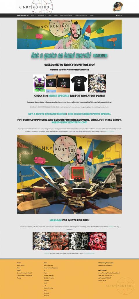 website refresh for Kinky Kontrol screen printing