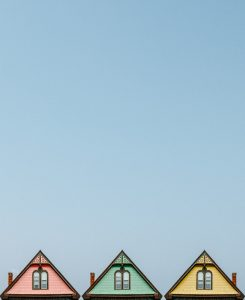 painted rooftops and sky