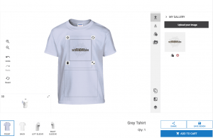 Mockup of the online t-shirt designer for print-on-demand businesses